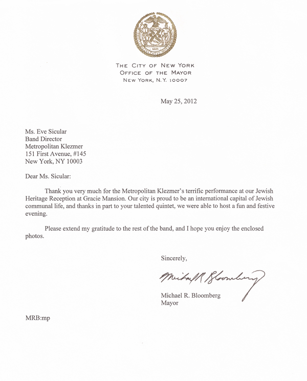 Letter of thanks from Mayor Bloomberg